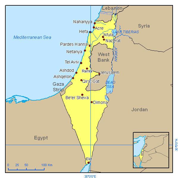 Kaart Israel En Buurlanden Archidev